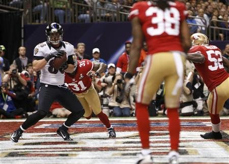 Former BYU tight end Dennis Pitta catches a TD in 2nd quarter of Super Bowl XLVII.