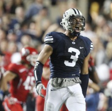 Van Noy celebrates a big tackle against Utah in 2011.